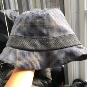Blue and grey hat
